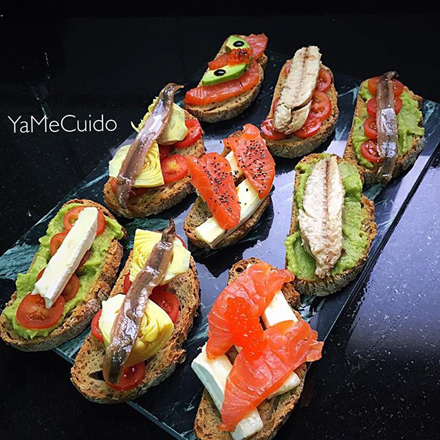 Receta de Comida️️ Montaditos de pan integral variados