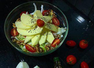 como hacer Ensalada de manzana y nueces receta