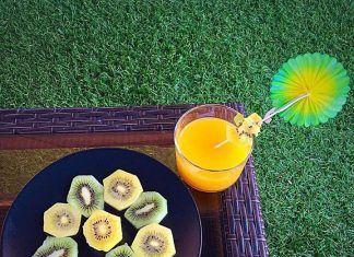como hacer Kiwis verdes y amarillo con zumo de Naranja receta