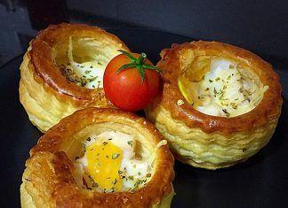 como hacer Nidos de hojaldre con huevos de codorniz receta